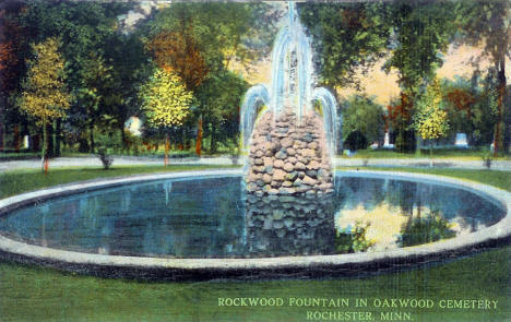 Rockwood Fountain in Oakwood Cemetery, Rochester Minnesota, 1910's?