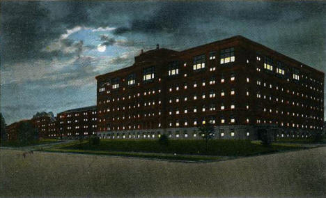 The new St Mary's Hospital at night, Rochester Minnesota, 1923