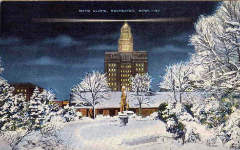 Mayo Clinic in winter, Rochester Minnesota, 1940's