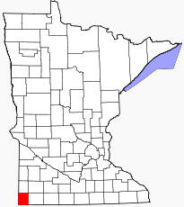 Location of Rock County Minnesota
