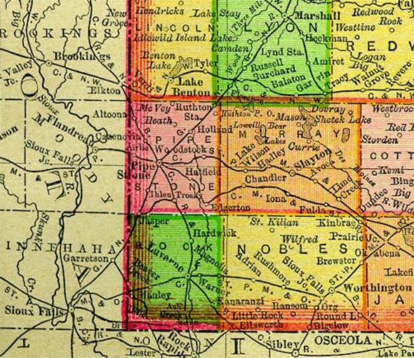1895 Map of Rock County Minnesota