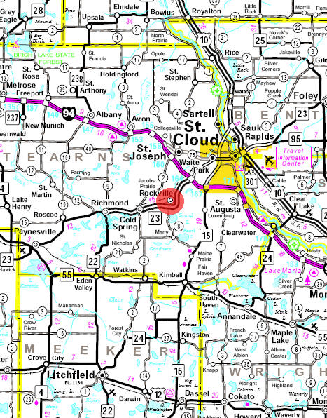 Minnesota State Highway Map of the Rockville Minnesota area
