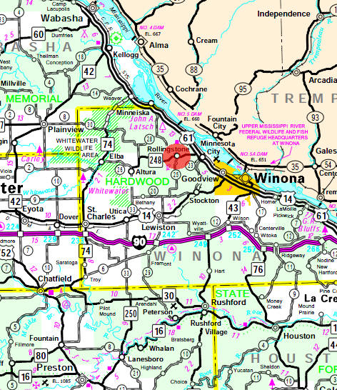 Minnesota State Highway Map of the Rollingstone Minnesota area