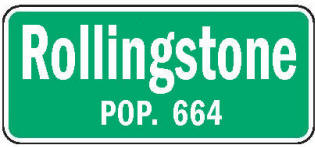 Rollingstone Minnesota population sign