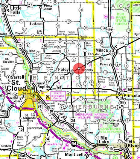 Minnesota State Highway Map of the Ronneby Minnesota area