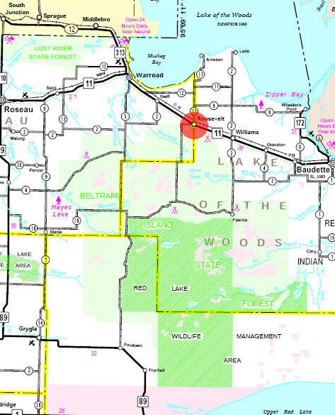Minnesota State Highway Map of the Roosevelt Minnesota area