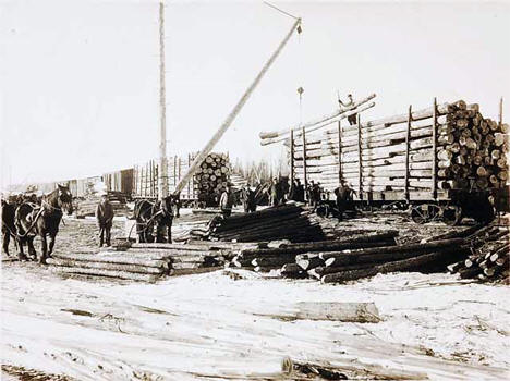 Loading logs onto a train car, Roosevelt Minnesota, 1911