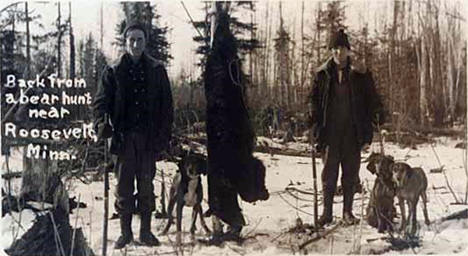 Back from a bear hunt near Roosevelt Minnesota, 1920