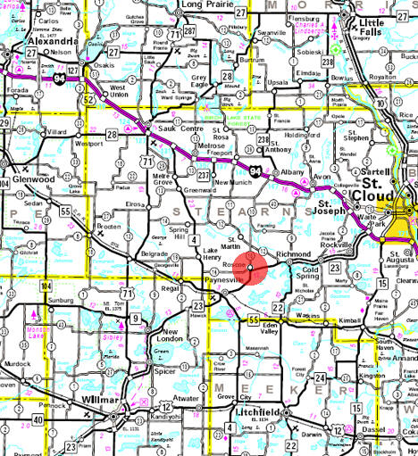 Minnesota State Highway Map of the Roscoe Minnesota area