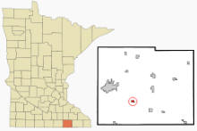 Location of Rose Creek, Minnesota