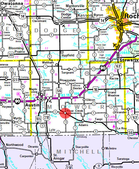 Minnesota State Highway Map of the Rose Creek Minnesota area