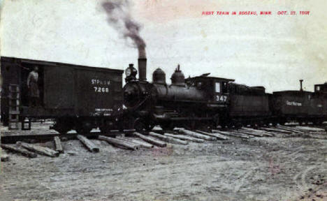 First Train in Roseau Minnesota, 1908