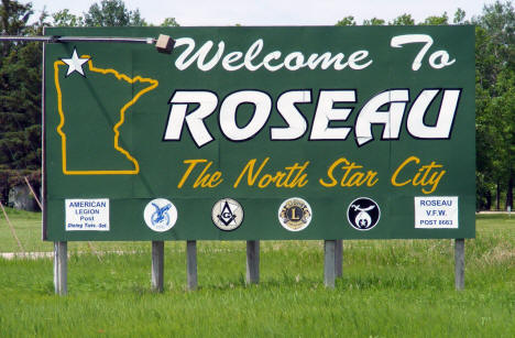 Welcome Sign, Roseau Minnesota, 2009