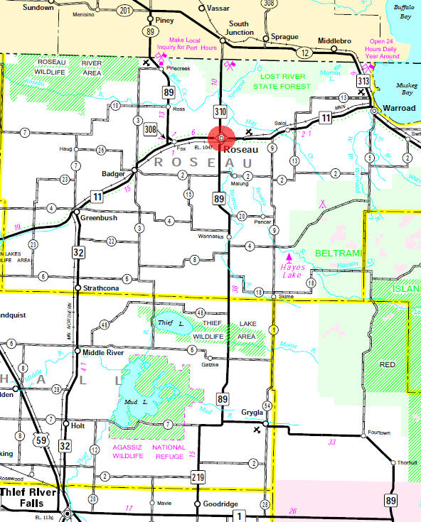 Minnesota State Highway Map of the Roseau Minnesota area