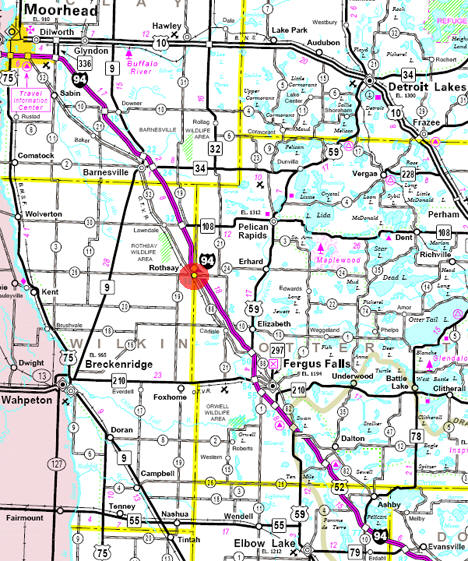 Minnesota State Highway Map of the Rothsay Minnesota area