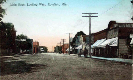 Main Street looking west, Royalton Minnesota, 1900's
