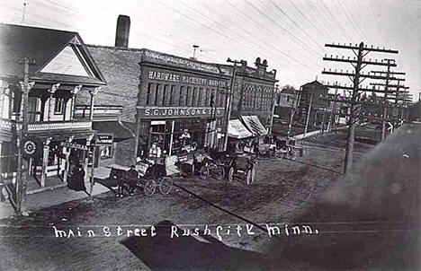 Main Street, Rush City Minnesota, 1908