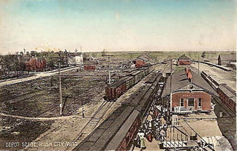 Railroad Depot, Rush City Minnesota, 1908