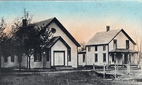 Presbyterian Church and Parsonage, Rushmore Minnesota, 1910's?