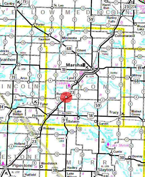 Minnesota State Highway Map of the Russell Minnesota area