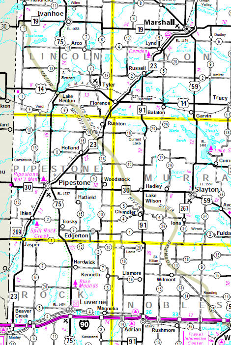 Minnesota State Highway Map of the Ruthton Minnesota area