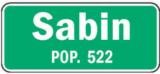 Sabin Minnesota population sign