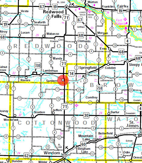 Minnesota State Highway Map of the Sanborn Minnesota area
