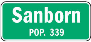 Sanborn Minnesota population sign