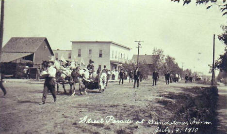 Street parade at Sandstone Minnesota, 1910