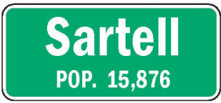 Sartell Minnesota population sign