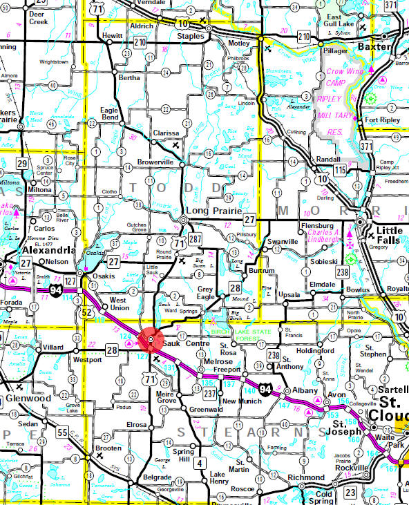 Minnesota State Highway Map of the Sauk Centre Minnesota area