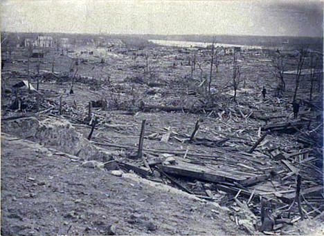 Aftermath of tornado at Sauk Rapids Minnesota, 1886