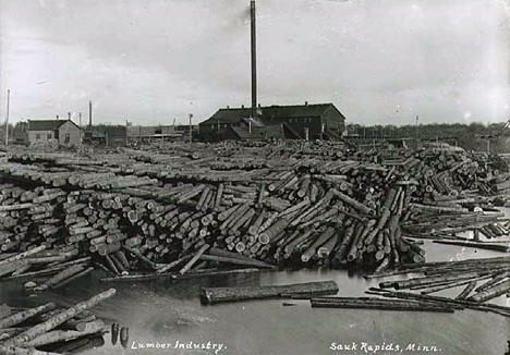 Sawmill at Sauk Rapids Minnesota, 1900