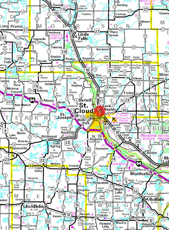 Minnesota State Highway Map of the Sauk Rapids Minnesota area