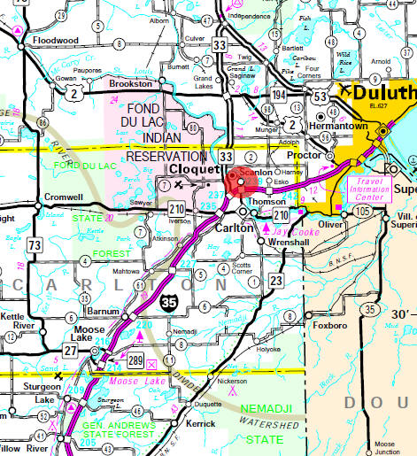 Minnesota State Highway Map of the Scanlon Minnesota area