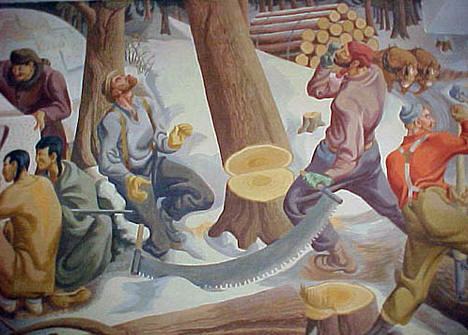 Portion of the 72 foot WPA mural painted in 1938 at Sebeka High School