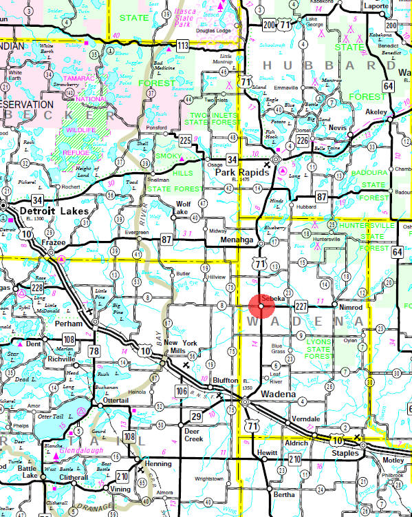 Minnesota State Highway Map of the Sebeka Minnesota area