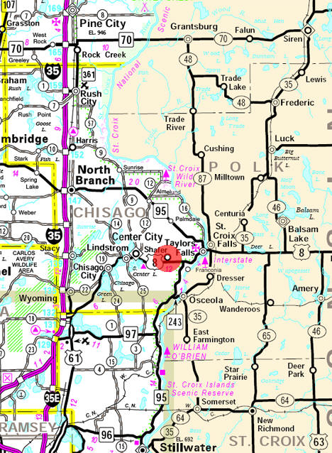 Minnesota State Highway Map of the Shafer Minnesota area