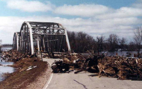 Red River Bridge near Shelly Minnesota after flood, 1997