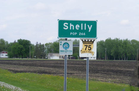 Shelly population sign on US Highway 75, Shelly Minnesota, 2008