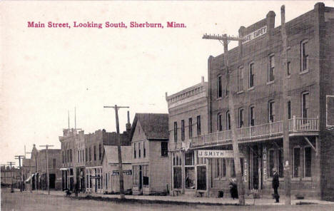 Main Street looking south, Sherburn Minnesota, 1910's