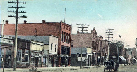 West side of Main Street in Central Block, Sherburn Minnesota, 1900's