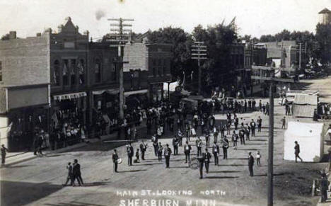 Main Street looking north, Sherburn Minnesota, 1912