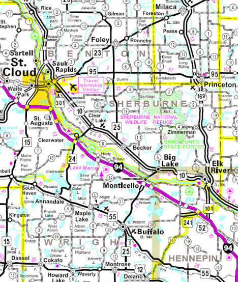 Minnesota State Highway Map of the Sherburne County Minnesota area