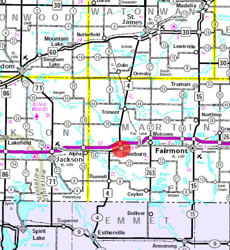 Minnesota State Highway Map of the Sherburn Minnesota area