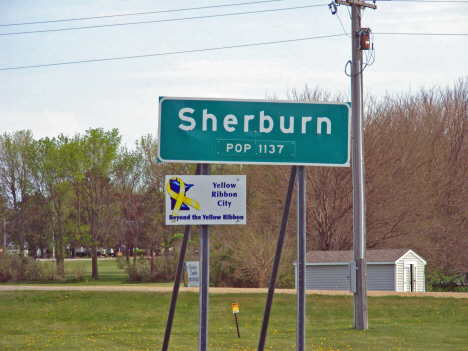 Population sign, Sherburn Minnesota, 2014