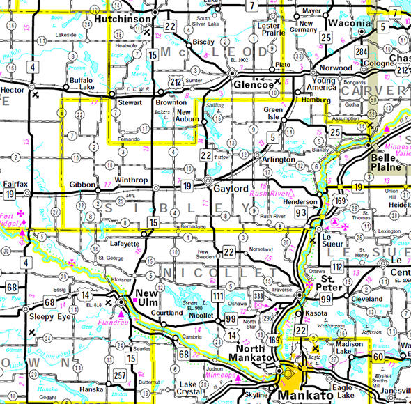 Minnesota State Highway Map of the Sibley County Minnesota area