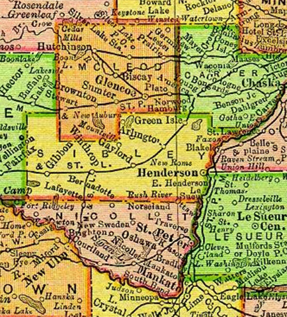 1895 Map of Sibley County Minnesota