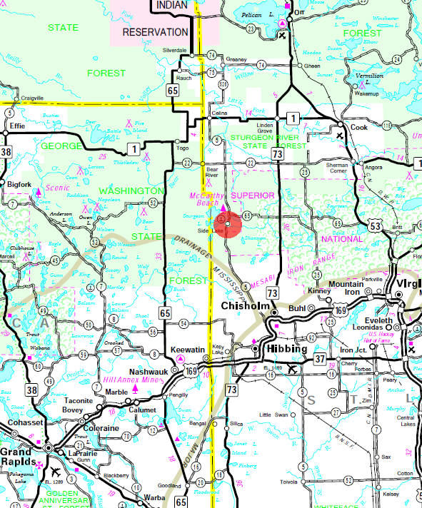 Minnesota State Highway Map of the Side Lake Minnesota area