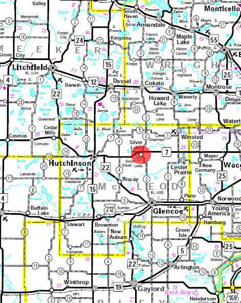 Minnesota State Highway Map of the Silver Lake Minnesota area